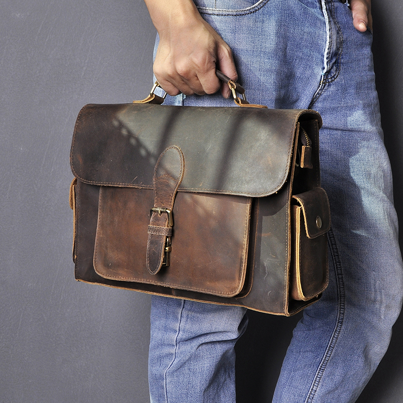 Men Real Leather Designer Business Briefcase 13