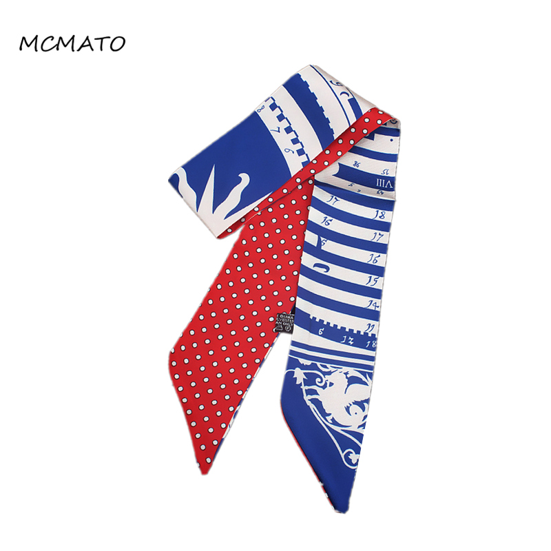 Bohemia Style Woman Twilly Silk Scarf 88cm*5cm Small Long Stripe 2020 Bag Ribbons Head Scarf Fashion Luxury Brand Accessories