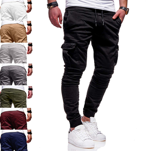 2020 New High Quality Mens Fitness Cargo Cotton Pants Outdoor Casual Sweatpants Pencil Drawstring Pants Trousers