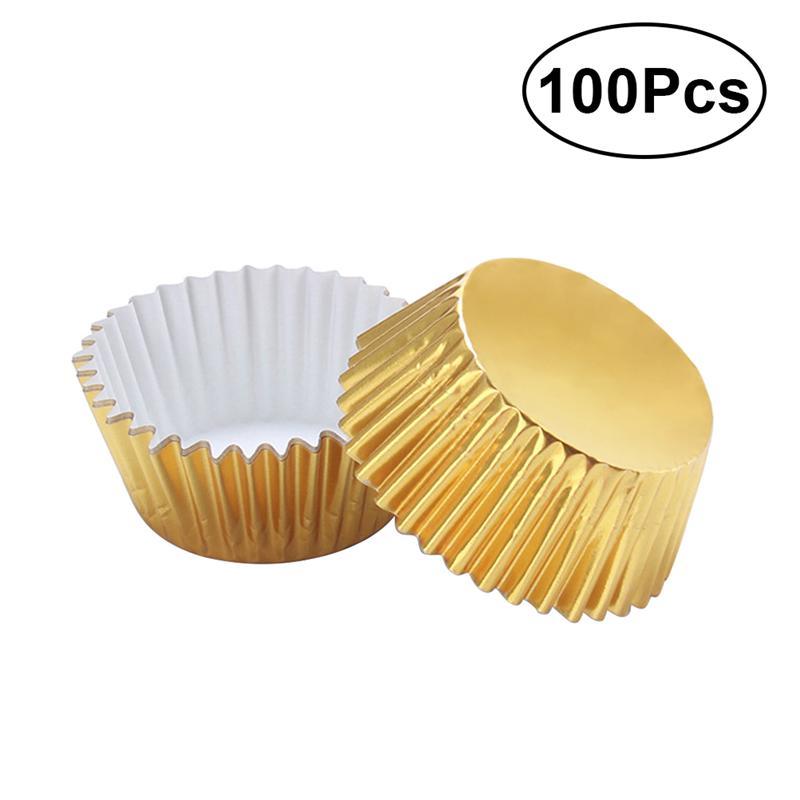 100 шт. алюминиевая фольга для кексов, лайнеры для кексов, бумага для кексов, Золотая мини-форма для тортов, формы для маффинов, формы для выпеч...