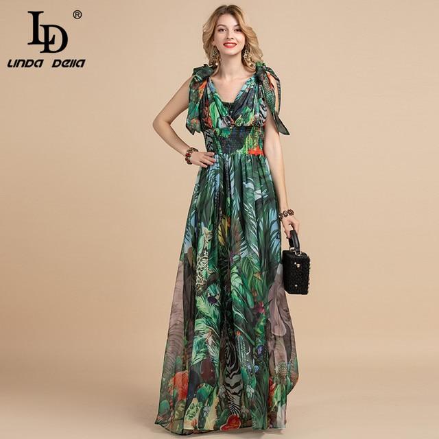 LD LINDA DELLA Summer Fashion Runway Maxi Dress Women's V-Neck elastic Vintage Flowers Print Holiday Boho Long Dress Plus size 3