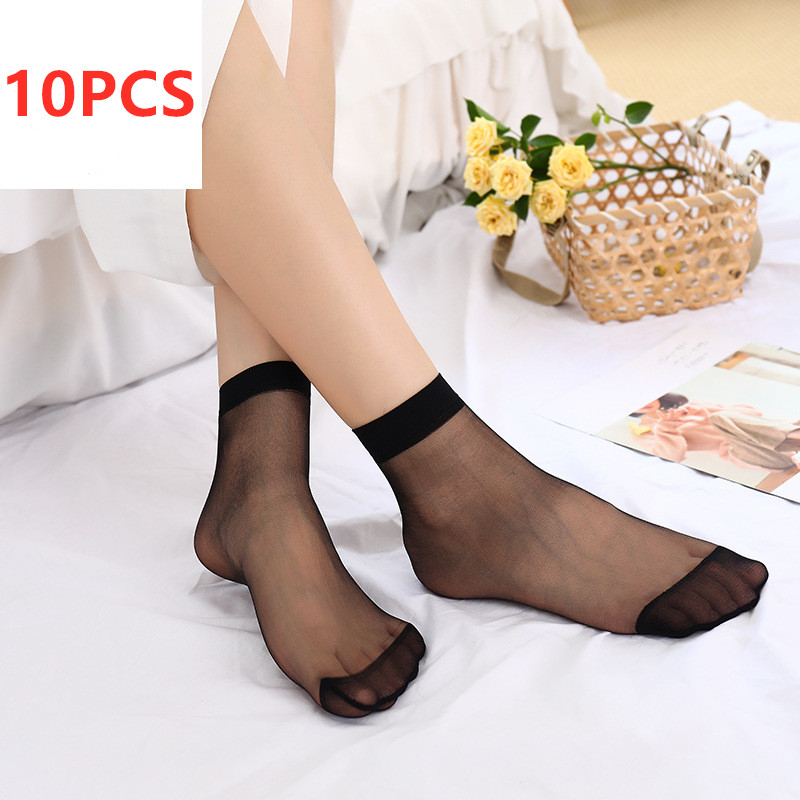 10Pairs Elastic Ultra Thin Transparent Socks Silk Women Short Socks Crystal Socks High Elastic Skin Color Nylon Short Socks