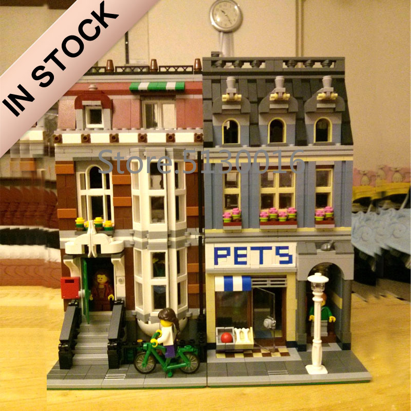 10218 Creator Pet Shop Supermarket 15009 2128Pcs Street View Model Building Kits Blocks Bricks Education Toys