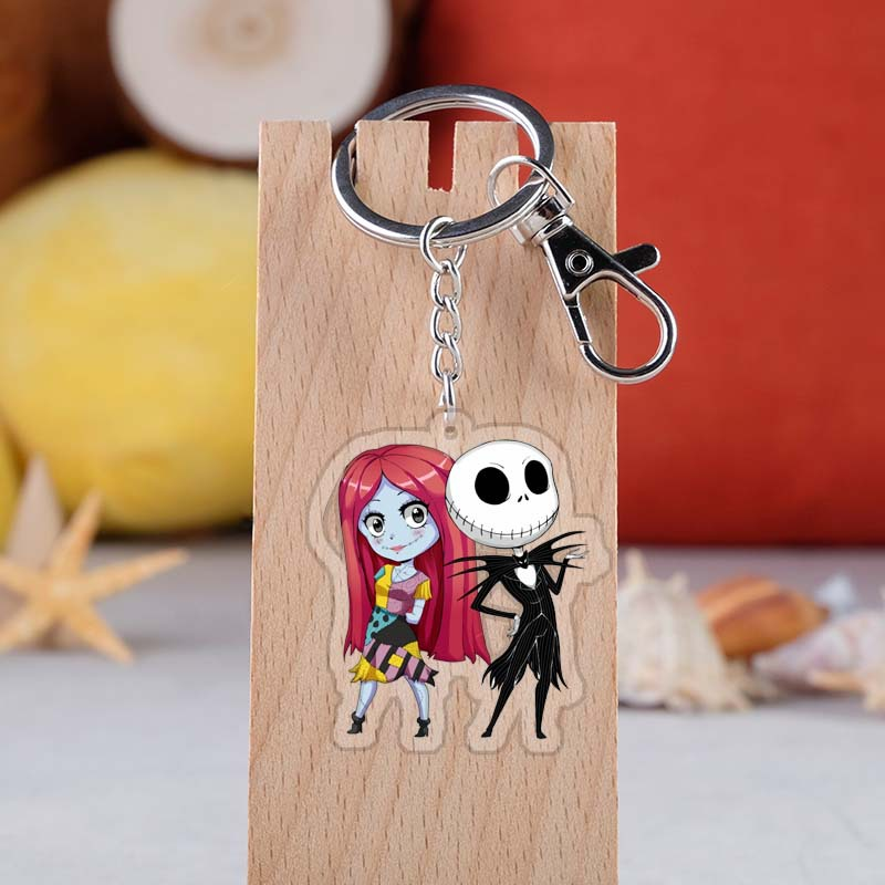 Nightmare Before Christmas Movie Sally Keychain Jack Jack Skellington Figure Acrylic Key Ring Cosplay Props