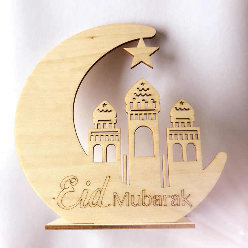 Ramadan di Legno Eid Mubarak Decorazione Per La Casa Luna Islam Moschea Musulmano Targa di Legno Appeso Pendente Del Partito di Festival Supp