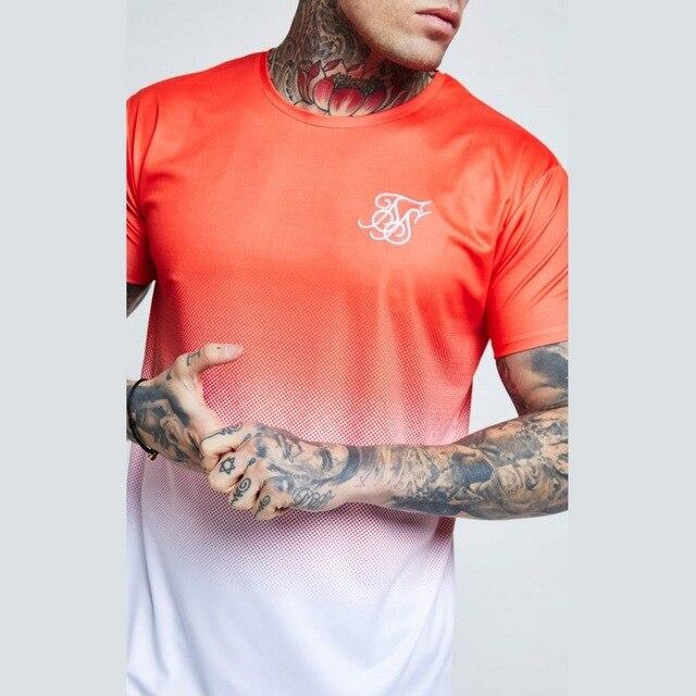 Nieuwe Mode Mannen Casual T shirts Korte Mouw Gradiënt Siksilk O hals T shirt Voor Mannen Kleding 2019 Merk T shirt