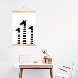 Современный минималистский черно-белый мультфильм жираф детская декоративная живопись для комнаты детский сад Раннее детство классов