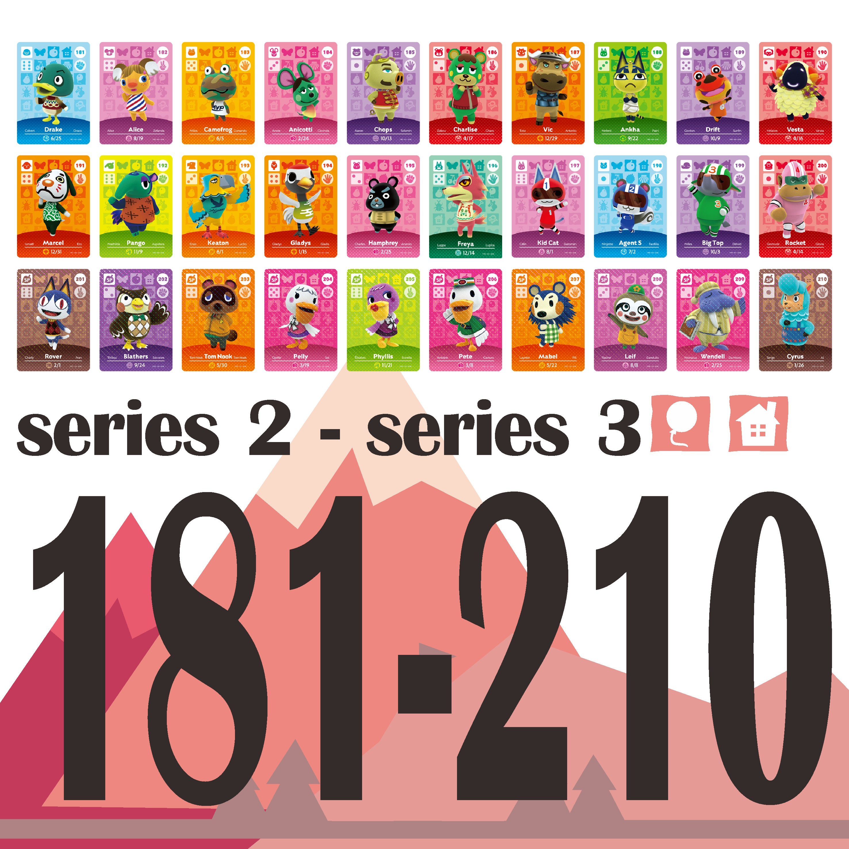 Animal Crossing Card Amiibo Card Work For NS Games Welcome Stickers New HorizonsAmibo Switch NFC Series 2&Series 3 (181 To 210)