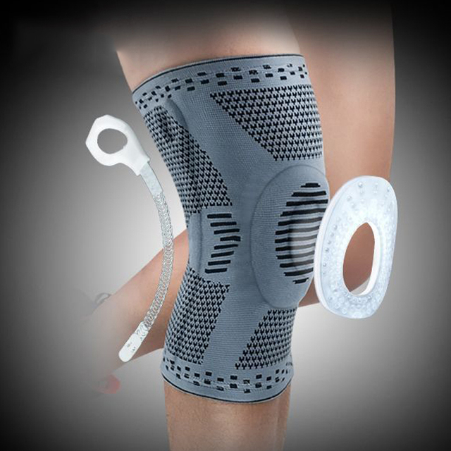 Knee Protector Brace Silicone Spring Knee Pad Basketball Knitted Compression Elastic Knee Sleeve Support Sports