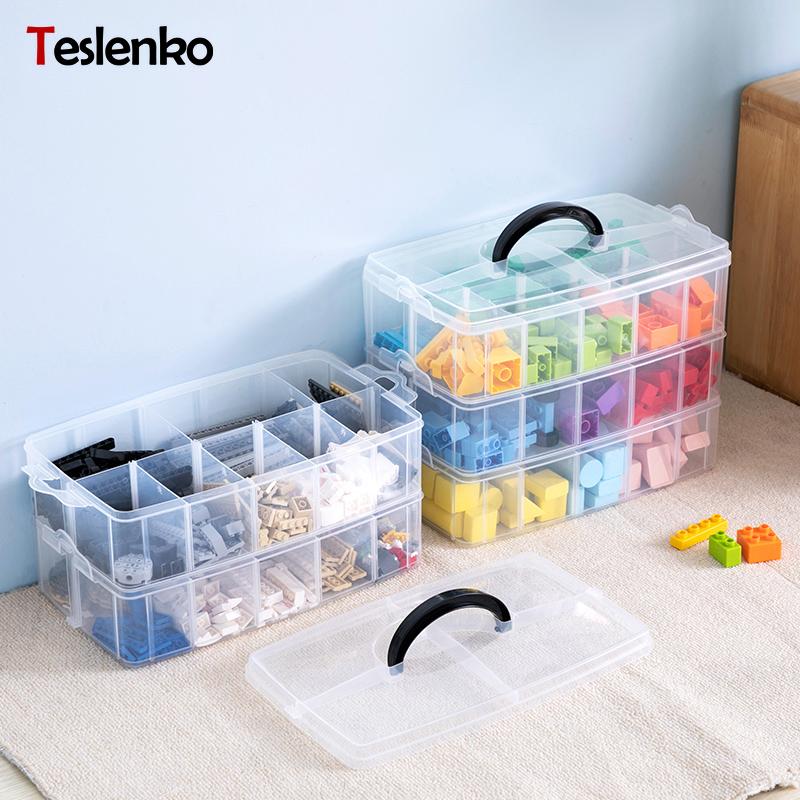 Jewelry Organizer Toy-Box Storage-Suitcase Plastic Box Scrapbooking Building-Blocks Lego