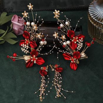Nowy starożytny chińskie wesele boczne klipsy kolczyki komplety biżuterii dla panny młodej Noiva czerwony kwiat kryształowe perły spinki do uszu FORSEVEN tanie i dobre opinie Ze stopu cynku CN (pochodzenie) Kobiety Metal Etniczne Zestawy biżuterii dla nowożeńców 50747 Ślub PLANT