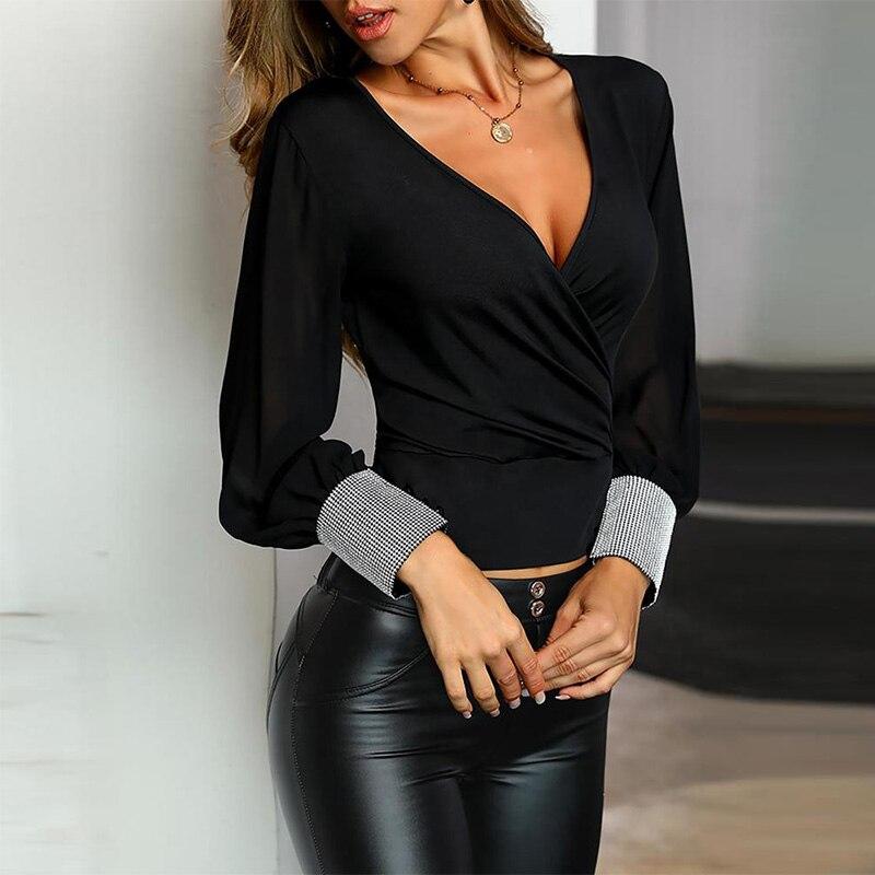 Women Sheer Mesh Glitter Cuff Wrap T-shirt Tops Office Lady Long Sleeve Casual Black Ruched T Shirts 2019