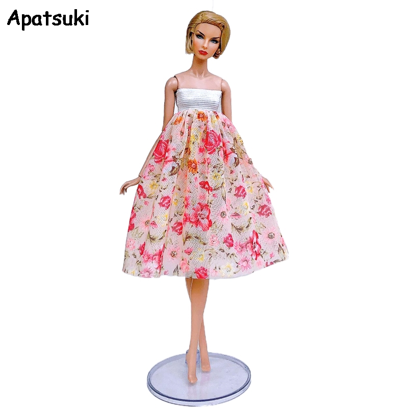 """Pink Floral Fashion Dress For 11.5/"""" 1//6 Doll Clothes Outfits Short Gown Kids Toy"""