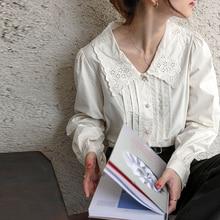 100% Cotton Vintage Embroidery Women Blouses Shirts
