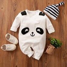 Bebê menino macacão macacão 100% algodão orgânico nascido roupas panda queda recém-nascidos rampers boutique traje uma peça onsie macacão