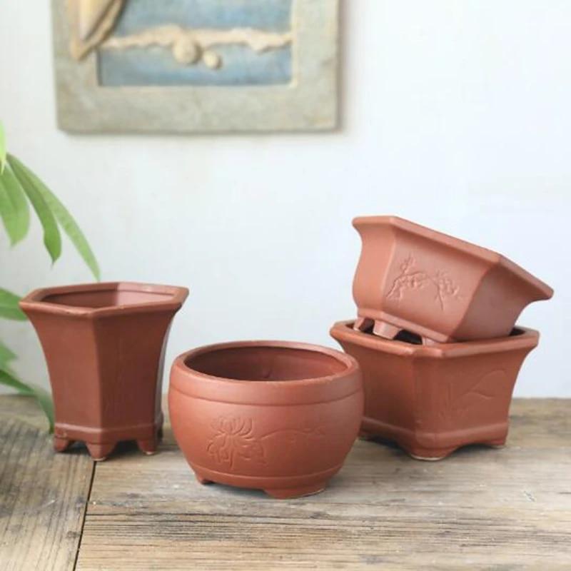 Red Clay Breathable Flowerpot Ceramic Succulent Plant Pot Vase Bonsai Planter Flower Container Living Room Balcony Home Decor Flower Pots Planters Aliexpress
