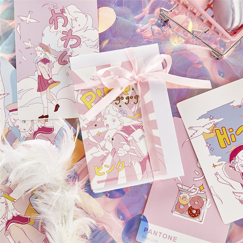 30 Pcs/Set Lovely Pink Girl Series Paper Postcard DIY Cartoon Greeting Cards Message Card Birthday Letter Gift Card