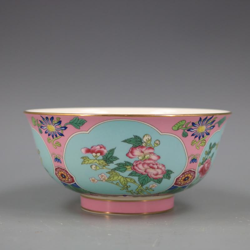 Qing Dynasty Qianlong gold painted bowl antique craft, porcelain home, antique ornaments collection