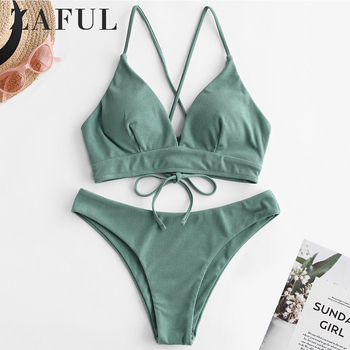 ZAFUL Bikini Velvet Ribbed Cami Bikini Set Lace Up Spaghetti Straps Women Swimsuit Solid Swimwear Padded Bathing Suit 2020 lace up back bikini set