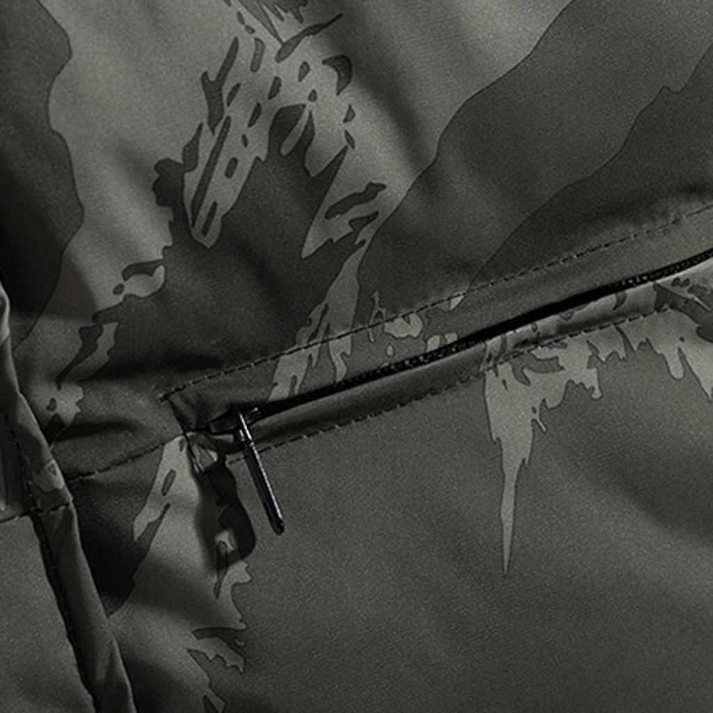 Pria Kamuflase Jaket Rompi Pria Musim Dingin Hangat Rompi Tanpa Lengan Rompi Pria Katun Tebal Jaket Pria Zipper Rompi untuk Musim Gugur pria