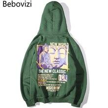 Bebovizi Hip Hop Retro Buddha Print Anime Hooded Sweatshirts Pullover Hoodies Mens Casual Streetwear Loose Tops