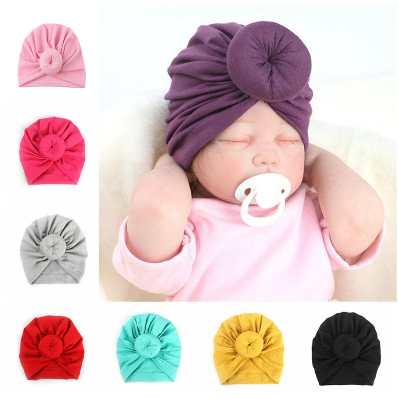 Cute Cotton Kids Headwear Newborn Toddler Indian Bandanas Solid Color Knot Hat Cap Baby Boy Girl Turban Accessories Dropshipping