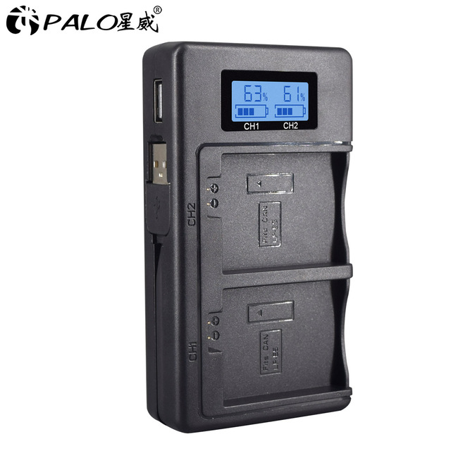 PALO LPE5 LP E5 LP E5 chargeur de batterie LCD double fente USB chargeur pour Canon EOS 450D 500D 1000D baiser X3 baiser F rebelle Xsi caméra