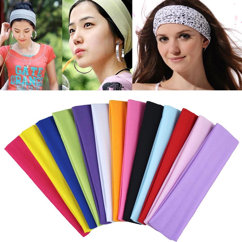 1PC Sweat Absorb Soft Wide Cotton Elastic Hair Band Headband Running Yoga Stretch Hairbands Sports Headband Accessories