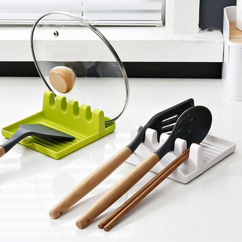 Łyżka kuchenna widelec łopatka stojak półka organizator plastikowa łyżka reszta stojak na pałeczki antypoślizgowe łyżki Pad naczynie kuchenne tanie i dobre opinie CN (pochodzenie) Z tworzywa sztucznego Green White Grey 12 7x14cm Heat Resistant Rack Kitchen Cooking Tools Kitchen Organizer
