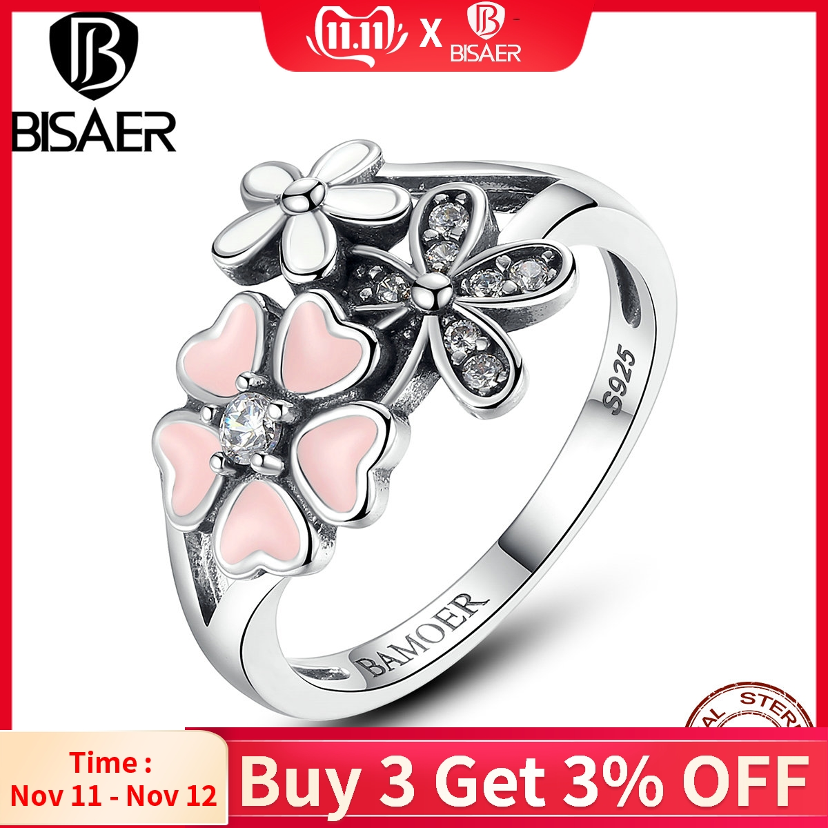 BISAER 100% 925 Sterling Silver Pink Flower Poetic Daisy Cherry Blossom Finger Ring For Women Fashion Wedding Jewelry HSR004