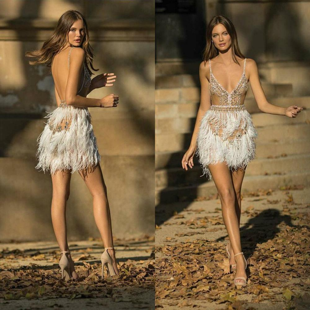 2019 Sexy Short Prom Dresses Illusion Spaghetti Major Beading Crystal Evening Dresses Feathers Design Backless Party Gowns