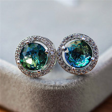 Luxury Female Round Blue Green Stud Earrings Elegant Silver Color Zircon Stone Earrings Vintage Wedding Earrings For Women(China)