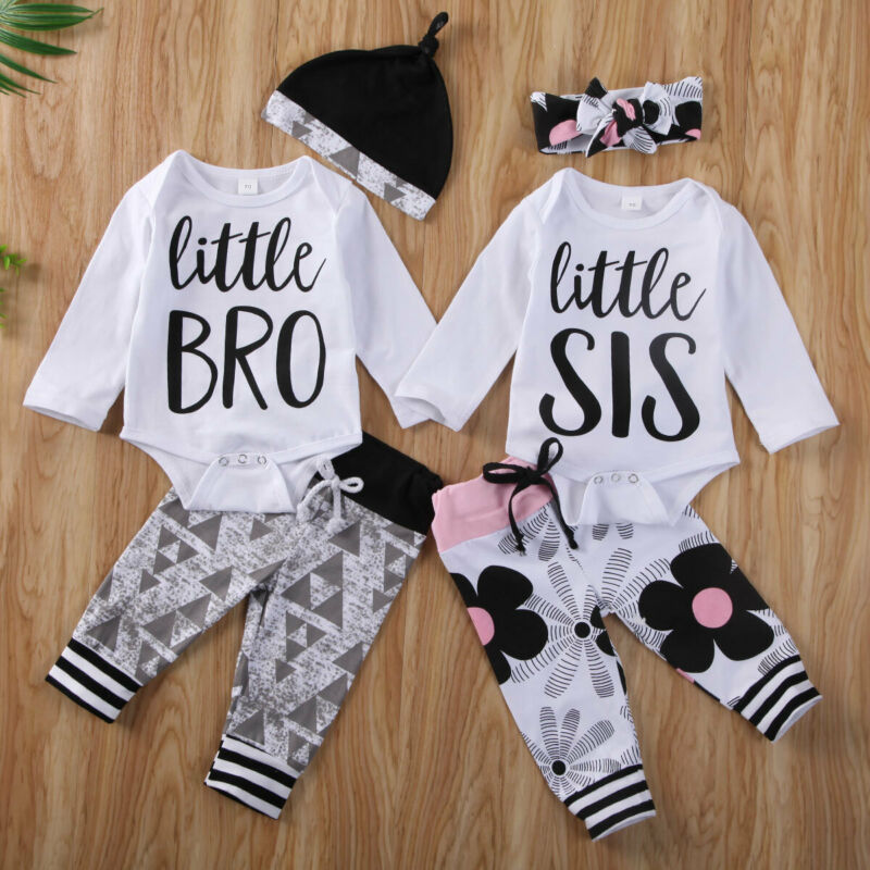 0-18M Newborn Baby Clothes Set Little Brother Sister Baby Boy Girl Romper Jumpsuits Tops Pants Cotton Toddler Baby Clothing Set