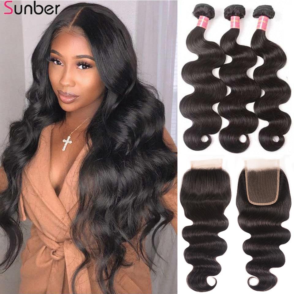 Sunber-mechones de pelo peruano ondulado con cierre de encaje HD 5x5, cabello Remy de alta relación, 3/4 mechones, doble máquina trama del pelo