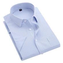 Degli uomini di estate S ~ 8xl a righe a manica corta camicia di vestito del collare del quadrato non-ferro regular fit anti-rughe tasca maschile camicia sociale