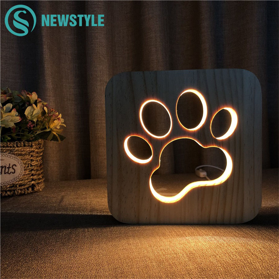 Wooden Dog Paw Cat Animal Night Light 3D Lamp USB Powered Desk Lights For Baby Christmas New Year Gift