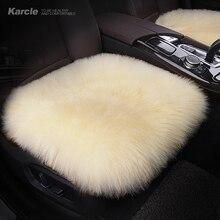 Karcle pele de carneiro capa de assento do carro almofada inverno quente lã natural frente protetor assento traseiro universal apto para caminhão suv van
