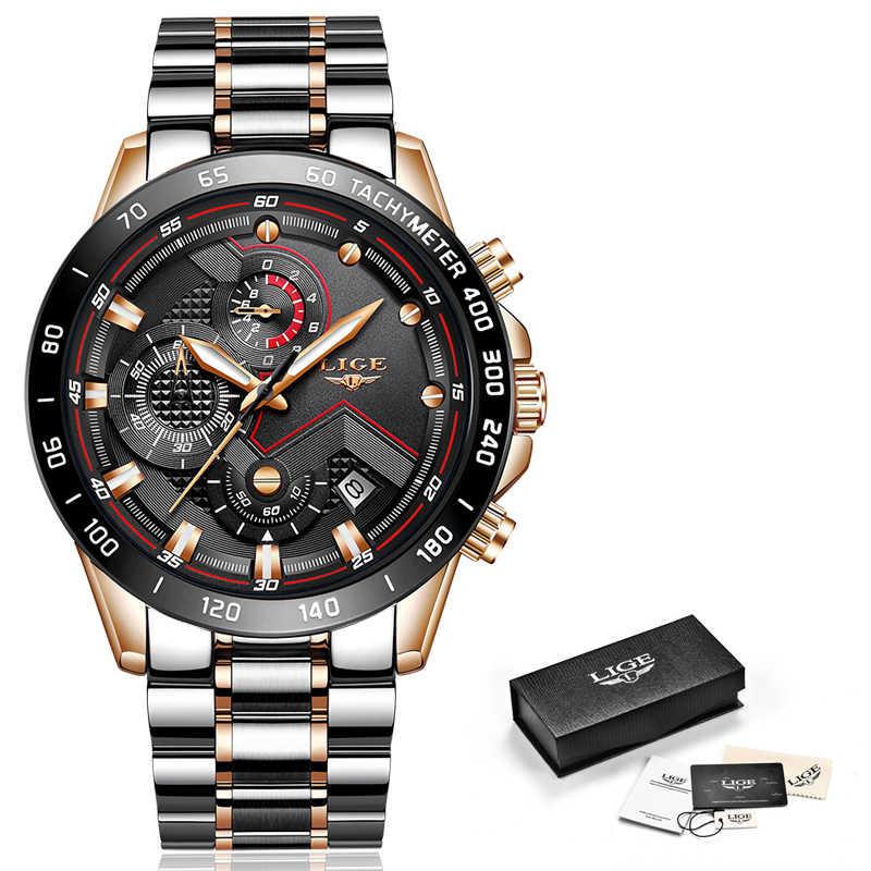 חדש ליגע ספורט הכרונוגרף Mens שעונים למעלה מותג יוקרה מלא פלדה קוורץ שעון עמיד למים גדול חיוג שעון Relogio Masculino + תיבה
