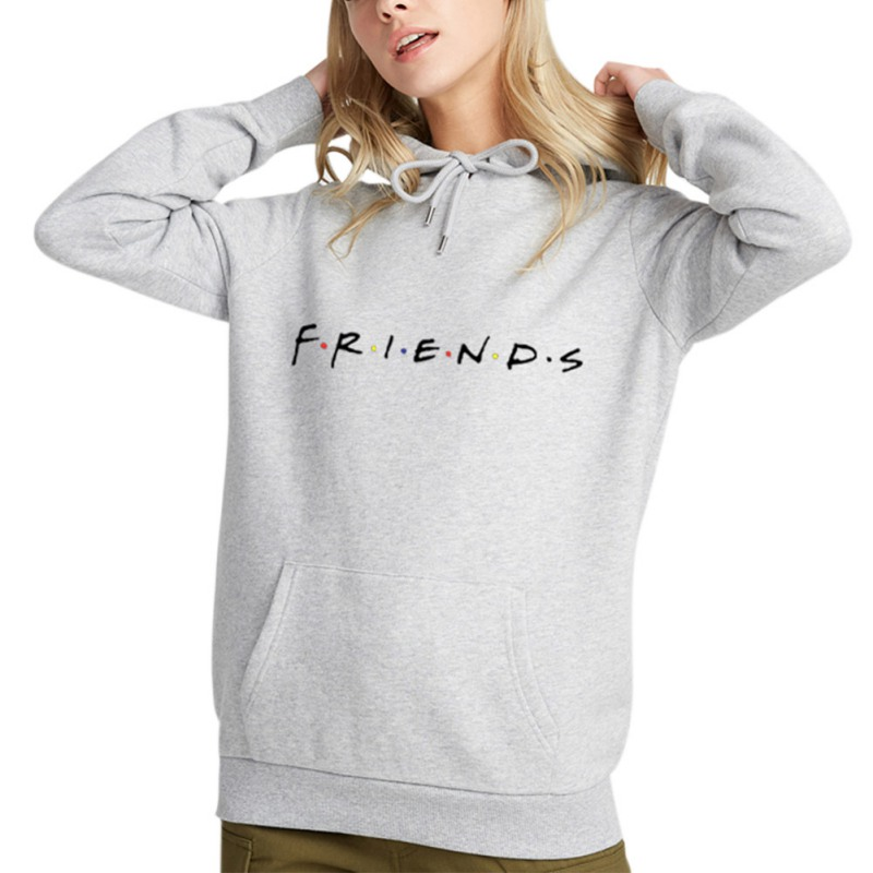 Women FRIENDS Hoodies Harajuku Letters Print Pocket Warm Thicken Pullovers Hip Hop Loose Solid Female Sweatshirts Couple Outfits