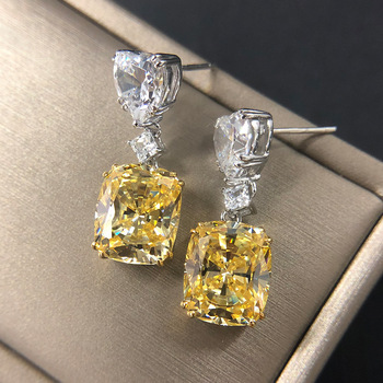 CMajor Sterling Silver Solid S925 Fine Jewelry Golden White Pink Heart Square 10*12 Artificial Diamond Drop Earrings for Women