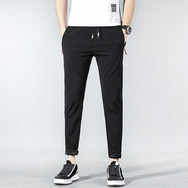 Summer MEN'S Casual Pants Viscose Sports Quick Drying Pants Men's Trousers Elasticity Slim Fit Ankle Banded Pants Sub-918