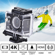 цена на Ultra HD 4K WiFi Action Camera 16MP 2 inch LCD Screen Sport Camera 170D Waterproof 30m Underwater Helmet Video Recording Camera