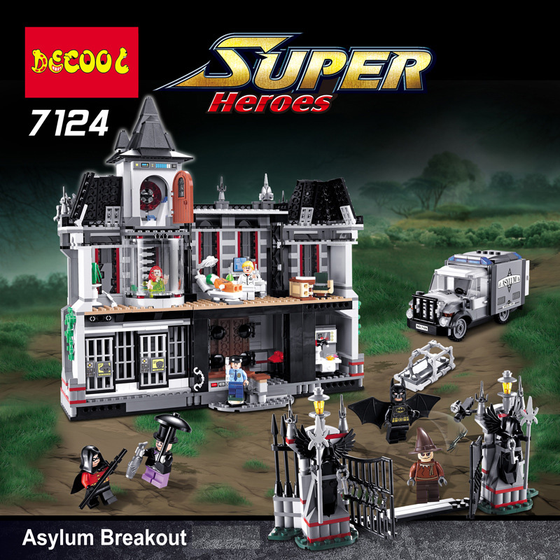 Boy Girl Friends Batman Arkham Asylum Breakout Super Heroes DC Super Hero Building Bricks Blocks Toys Compatible With 10937