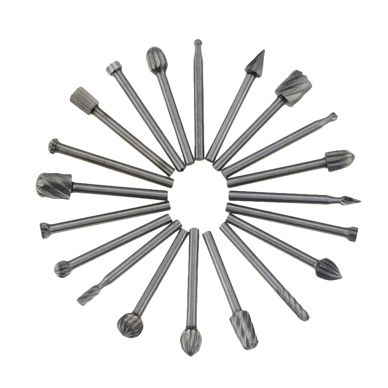 20PCS 3mm HSS Rotary Routing Router Bit For Burr Milling Cutter Carving Machine Router Bits Kit Drill Bit