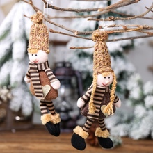 Lovely Christmas Knitted Dolls Tree Hanging Pendant Decorations for Home Wooden Xmas Ornaments Gift Kids