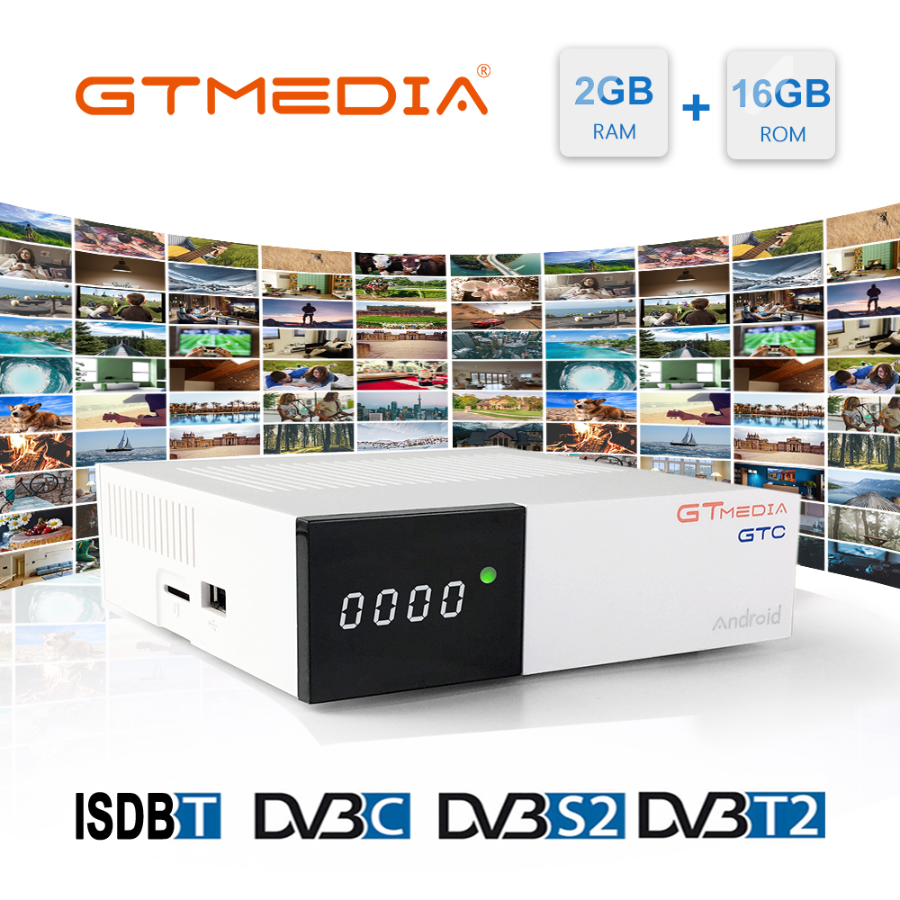 GTMedia GTC Satellite TV Receiver DVB-T2/C/S2/ISDB-T Ccam Android 6.0 Smart TV Box Amlogic S905D 2GB 16GB 1 Year Europe Tv M3u