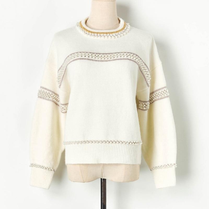 Haute qualité rayé chandails femmes perles o-cou 2019 automne hiver épais tricoté pulls dame lanterne manches hauts pulls