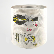 3packs 30m/pack lovely Bride and Groom theme napkin Roll Dollar Bill Toilet Paper Novelty Toilet Tissue Christmas Wholesale(China)