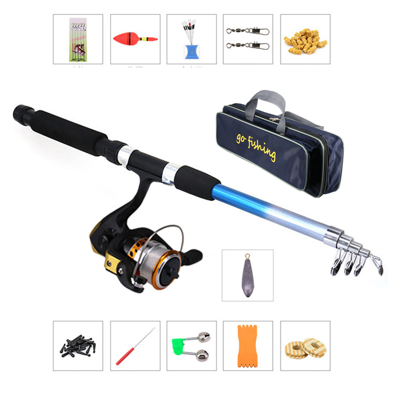 Storage-Bag Combo Fishing-Gear-Set Retractable Spinning Full-Kit Hooks Lures