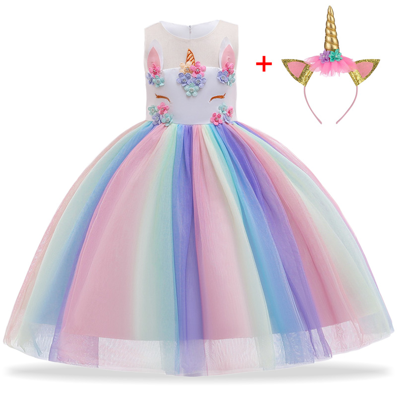 NNJXD,Disfraz Unicornio Ni/ña Fiesta de Cosplay Boda Partido,Vestido De Princesa Vestidos Unicornio ni/ña